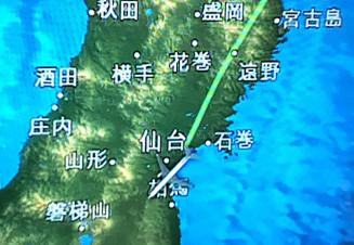 JALの一部機内で表示されるルートマップ。宮古市の位置に「宮古島」と記されている(投稿者提供)