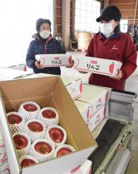 新成人に贈るリンゴを納品する生産者