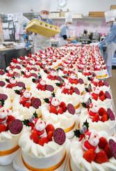 パティシエが華やかに飾り付けるクリスマスケーキ=23日、盛岡市南大通・プランタンブラン