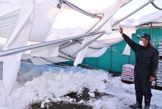 湿った重い雪により壊れたハウス施設=6日、奥州市胆沢小山