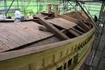 キャッセンエリアに陸上展示 大船渡の復元千石船「気仙丸」