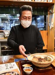優しい味が人気の千秋庵の三陸おでん。千葉武継店主は「三陸の人と心をつなぐ名物になってほしい」と願う