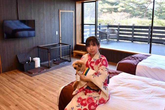 浄土ケ浜パークホテルが新たに提供する愛犬と泊まれる洋室。部屋からプライベートドッグラン(写真奥)に出入りできる