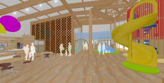 キッズスペースを備える広域道の駅施設内のイメージ図(久慈市提供)