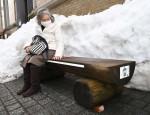 ほっと一息 木製ベンチ 盛岡・簗川産のスギ使用、バス停に設置