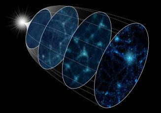 銀河が数多く広がる現在(右手前)から宇宙初期の銀河の状況(左奥)を推定するイメージ(統計数理研究所提供)