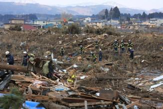 野田村で捜索活動をする消防隊員