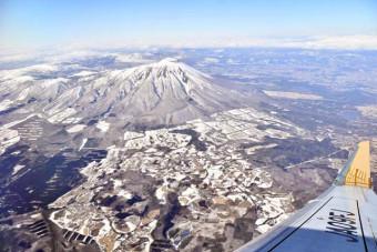 チャーター機から眺めた岩手山周辺