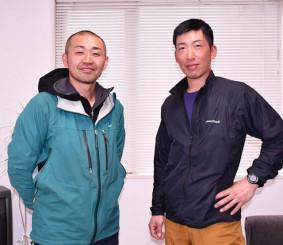 ヒマラヤ山脈のアマ・ダブラム登頂への挑戦を決意する赤坂純友さん(左)と飯沢政人さん