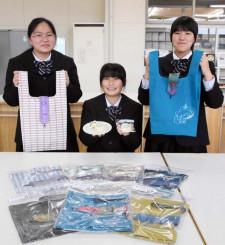 考案したエコバッグや焼き菓子の販売会をPRする平舘高家庭クラブの生徒