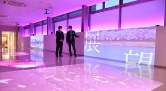 桜の花の模様が投影され、幻想的な雰囲気に包まれるりぼん橋