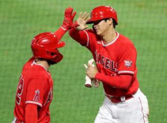 ツインズ戦の6回、トラウトの適時打で二塁から生還しチームメートに迎えられるエンゼルス・大谷翔平=アナハイム(共同)