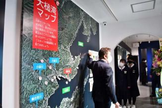 入り口に設ける大槌湾マップ。住民と連携して情報の充実を図る