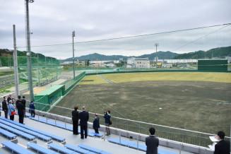 被災跡地に完成した大槌町営野球場