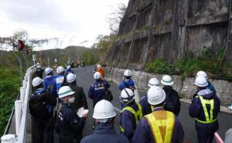 現地で斜面の状況を確認する国土交通省の専門家ら(県提供)