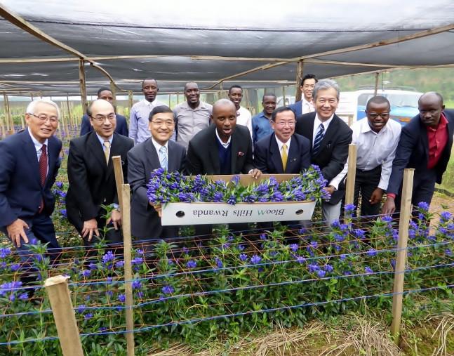 ルワンダ産のリンドウ「安代の輝き」の初出荷を喜ぶ田村正彦市長(右から4人目)ら日本と現地の関係者=14日、ルワンダ・キガリの試験農場(八幡平市提供)