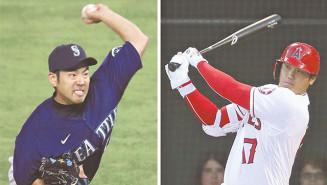マリナーズの先発菊池雄星(左)と対決したエンゼルス・大谷翔平。1回に先制の16号本塁打を放った=アナハイム(共同)