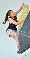 女子複合予選 3位で決勝に進んだ伊藤ふたば(TEAM au)=県営運動公園スポーツクライミング競技場