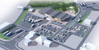 大規模な駐車場や緑地広場を備える新たな道の駅やまだのイメージ図(山田町提供)