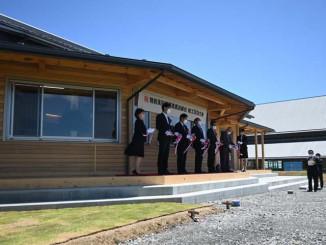 陸前高田市の中心市街地に再建した陸前高田高等職業訓練校のテープカット