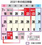 祝日移動にご注意 東京五輪の開閉会式に合わせ7、8月