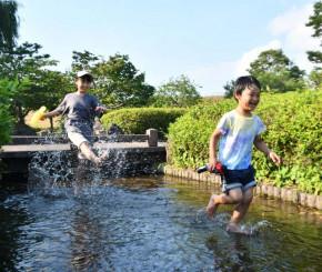 強い日差しの下、水遊びを楽しむ子どもたち=18日、一関市狐禅寺・一関遊水地記念緑地公園