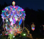 光が彩る賢治の世界 花巻・童話村でライトアップ
