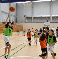 県大会出場を目指し、熱戦を繰り広げる子どもたち=釜石市民体育館