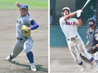 投打でチームに貢献する花巻東の主戦菱川一輝(左)今大会4本塁打と長打力が光る盛岡大付の金子京介(右)