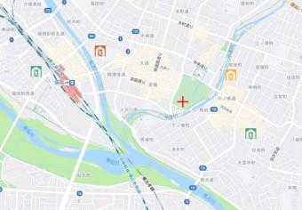避難所の混雑状況を緑、黄、赤色で色分けするマップのモデル画面