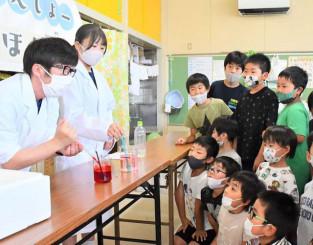 「人工イクラ」を作る実験を興味深そうに見入る児童たち