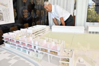 専大北上高の新校舎の模型。市民らの要望を設計に取り入れ、地域の交流拠点を目指す