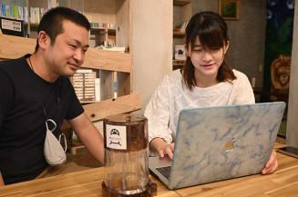 学生支援エールシステムを企画した照井春風さん(右)と福田一馬代表
