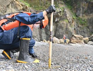 海岸の砂をかき分けて手掛かりを探す探す署員