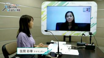 リモート出演する清水美穂記者と弦間彩華アナウンサー(左)