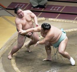 錦木(左)が押し出しで天空海に敗れる=両国国技館