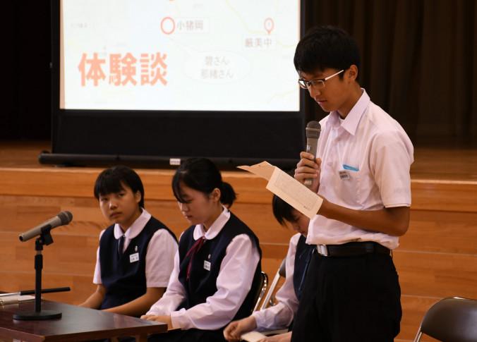 岩手・宮城内陸地震の被災体験を語る生徒