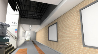 JR釜石駅構内の通路のリニューアルイメージ。壁をれんが風に仕上げてぬくもりを出す(JR盛岡支社提供)