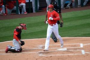 レッズ戦の1回、本塁打を放ちホームインしたエンゼルスの大谷=15日、テンピ(ロイター=共同)