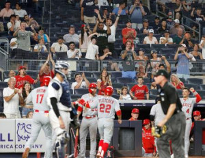 ヤンキース戦の5回、2打席連続本塁打となる28号2ランを放ったエンゼルス・大谷(17)と、観客席で盛り上がるファン=ニューヨーク(共同)
